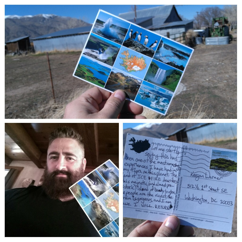 collage of a bearded man holding a postcard from Iceland with images of postcard front and back