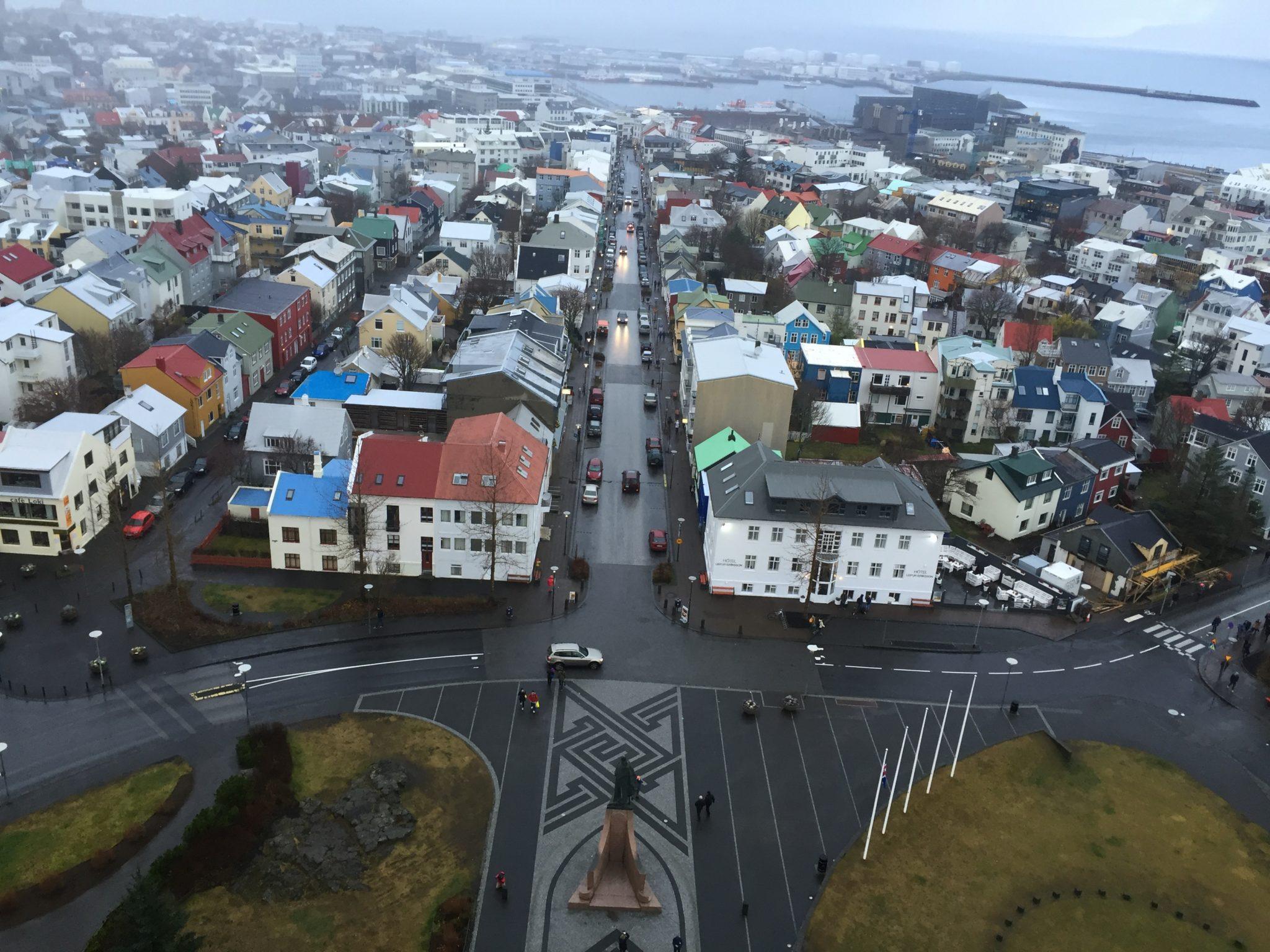 Reykjavik Iceland from sky