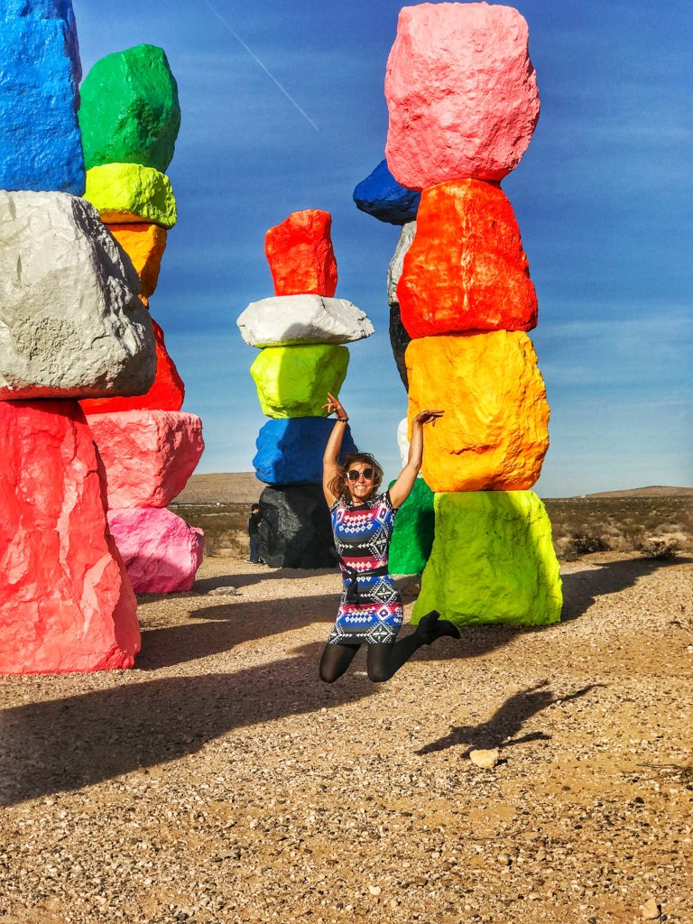 jumping next to Seven Magic Mountains