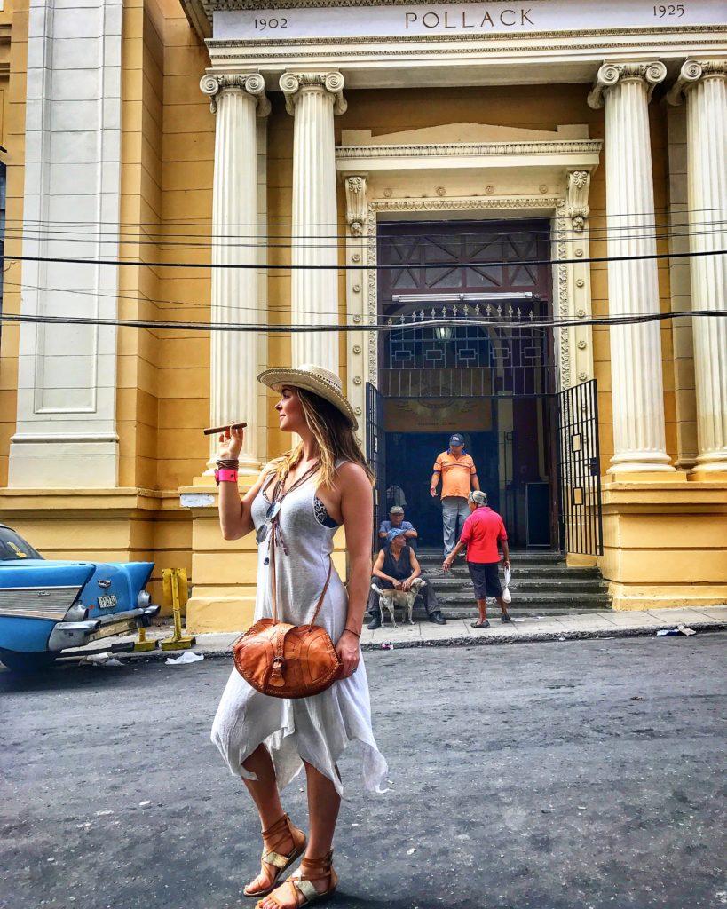 woman smoking a cuban cigar
