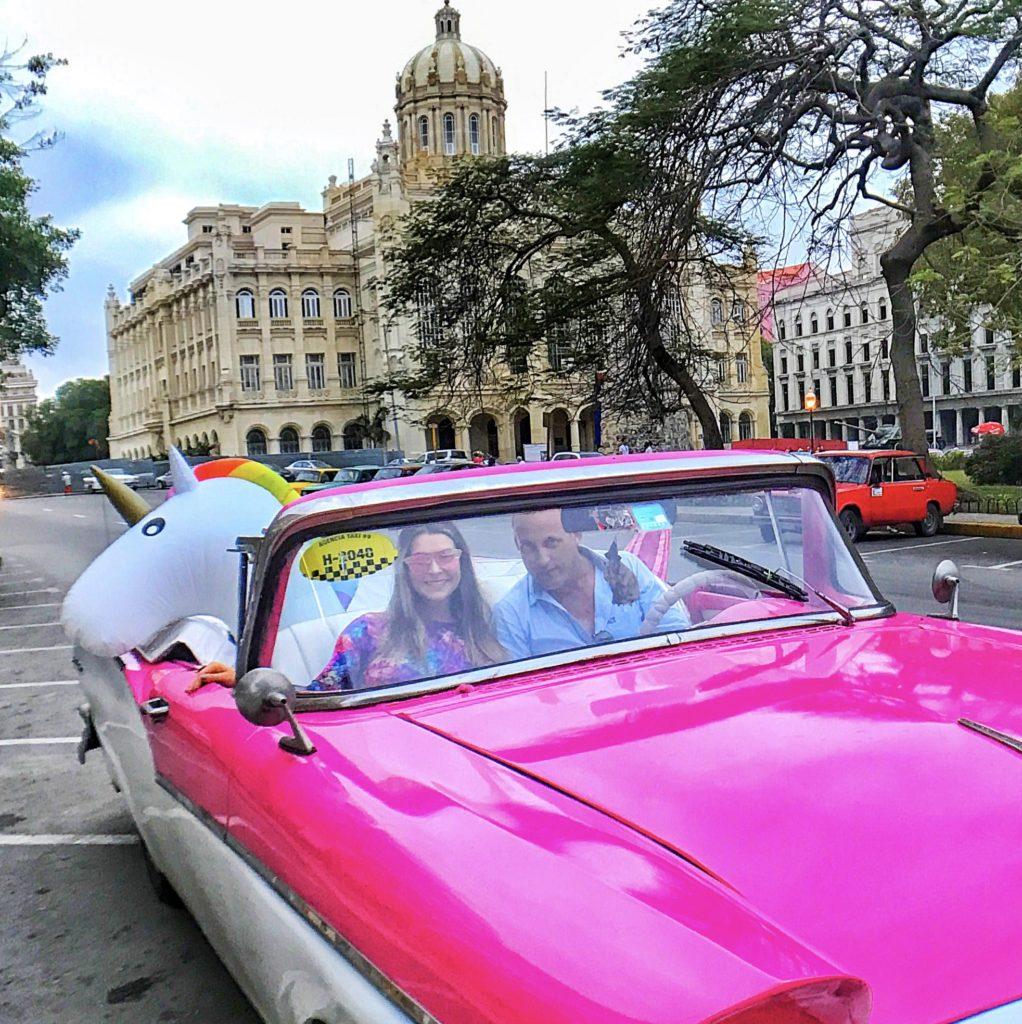 unicorn in classic american car