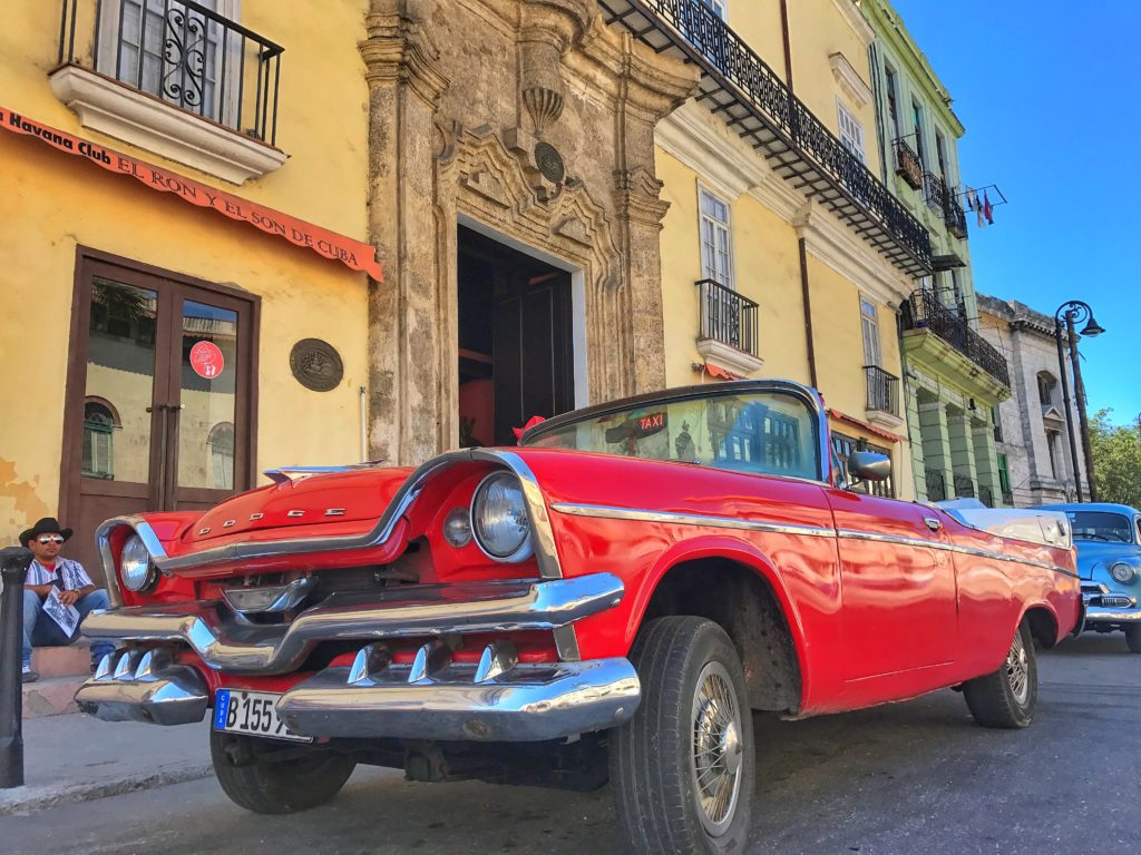 red dodge in Havana Cuba