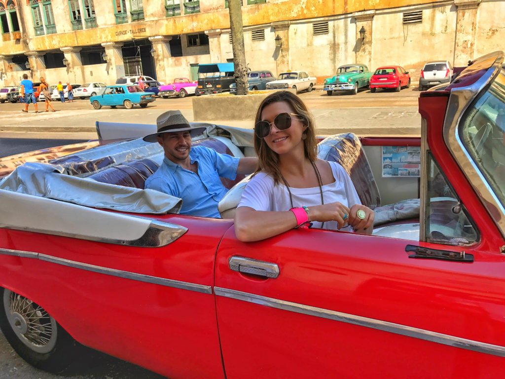 Red Dodge convertible in Cuba