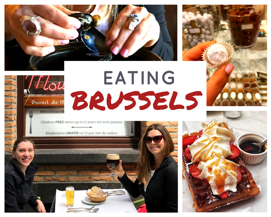 Eating Brussels with photo collage of Cyndi smiling