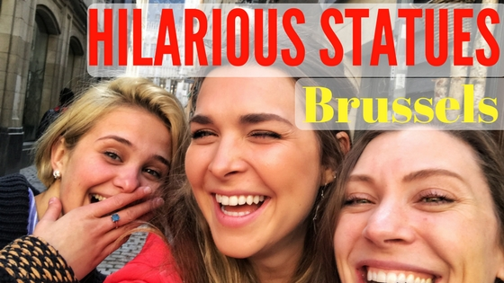 three women laughing with text that reads hilarious statues brussels