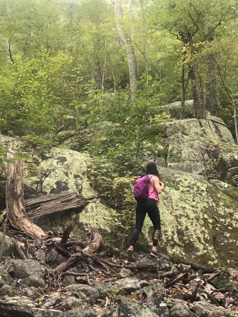 woman hiking Old Rag