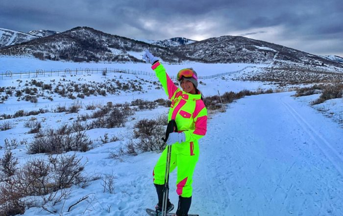 woman snowshoeing in Utah
