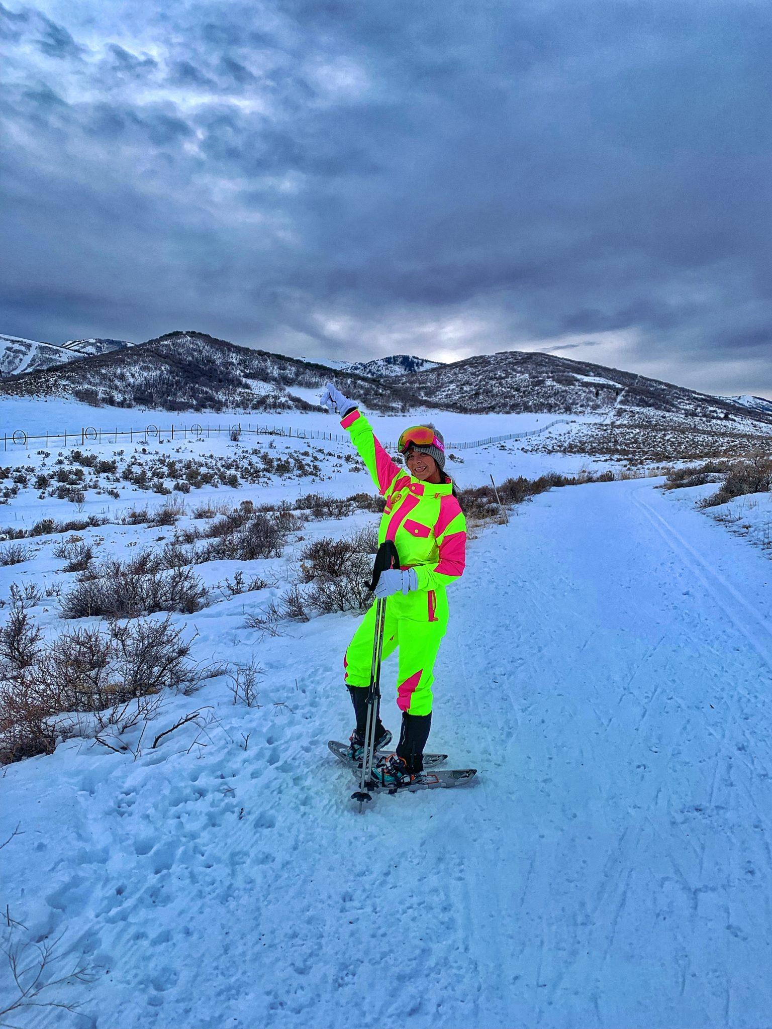 woman snowshoeing in Utah